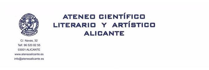 Ateneo de Alicante me nombra Socio de Honor por mi Trayectoria Literaria